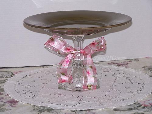 Cake Dessert Cupcake Green Plate Glass Pedestal Stand