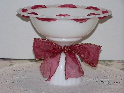 Milk Glass Bowl White Pedestal Stand Vintage Inspired