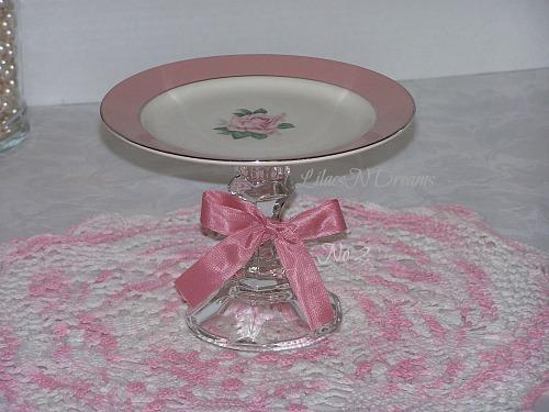 Pink Rose Cupcake Stand Dessert Pedestal Vintage Inspired