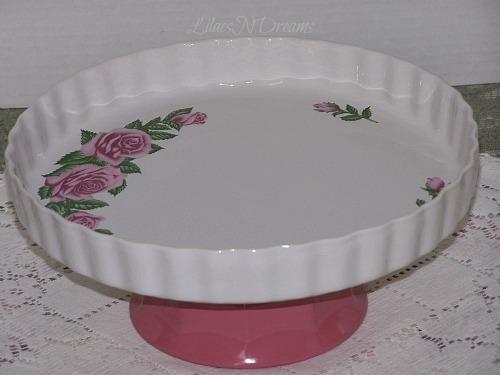 Cake Cupcake Pink Rose Dish Pedestal Stand Vintage Inspired
