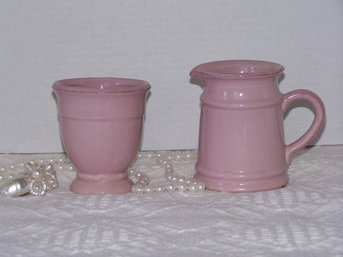 Pink Stoneware Creamer Sugar Bowl Set Brown Accents