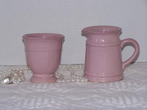 Pink Stoneware Creamer Sugar Bowl Set Brown Accents