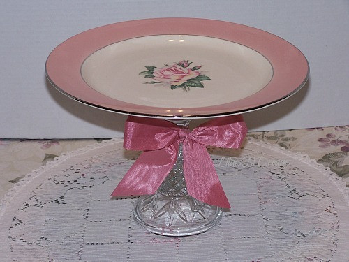 Pink Pink Rose Cake Cupcake Stand Glass Pedestal Wedding Decor