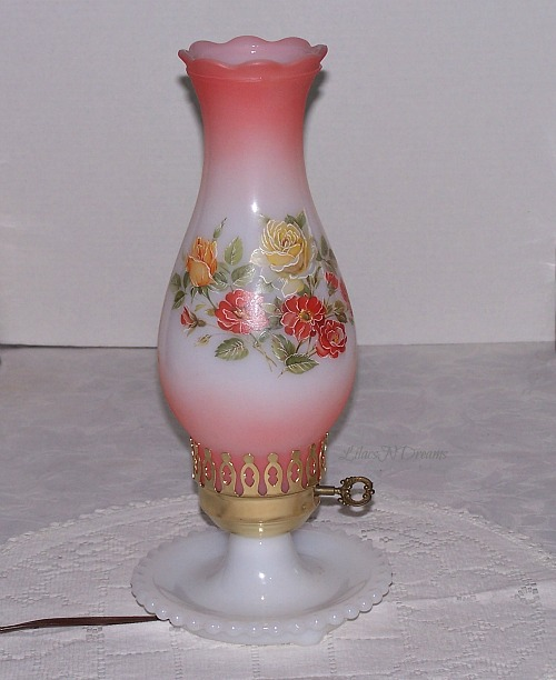 Hurricane Electric 1970s Lamp White Hobnail Base Painted Roses
