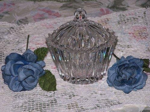 Designed Glass Dresser Vanity Jar and Lid