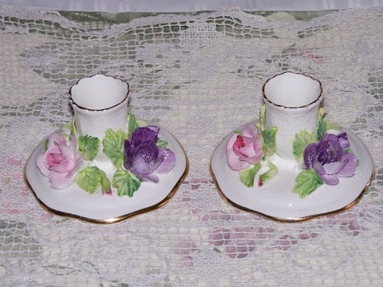 Vintage Collectibles Crown Staffordshire England Fine Bone China Candle Holders