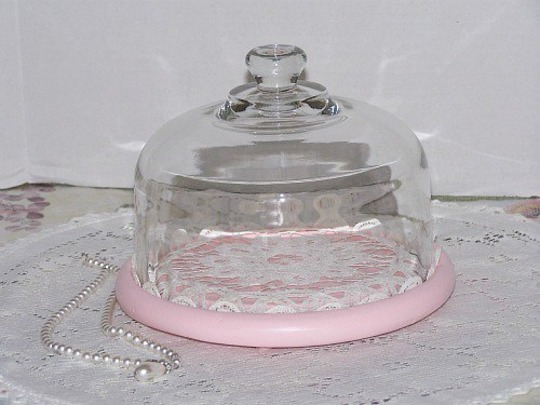 Upcycled Glass Cloche Dome Pink Cheeseboard Tray  Display Vintage Inspired