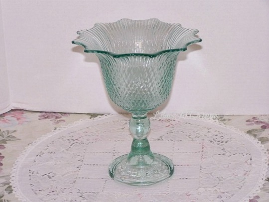 Green Glass Tulip Candy Dish Vase Pedestal Sea Mist Wedding Decor