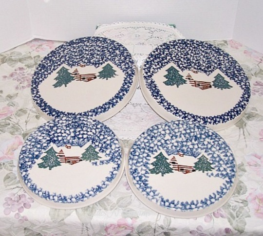4 Tienshan Folk Craft Cabin in The Snow Standard Stove Top Burner Covers
