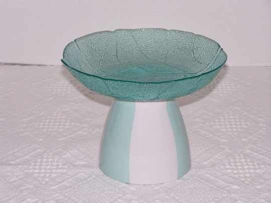 Aqua Green Glass Bowl Stand Candy Dish Stand