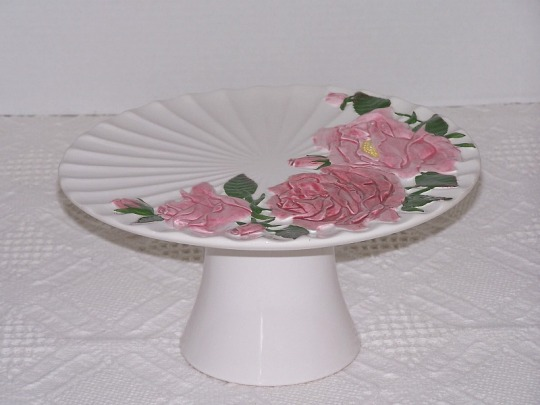 Pink Rose Cake Stand White Pedestal Plate Wedding Home Decor